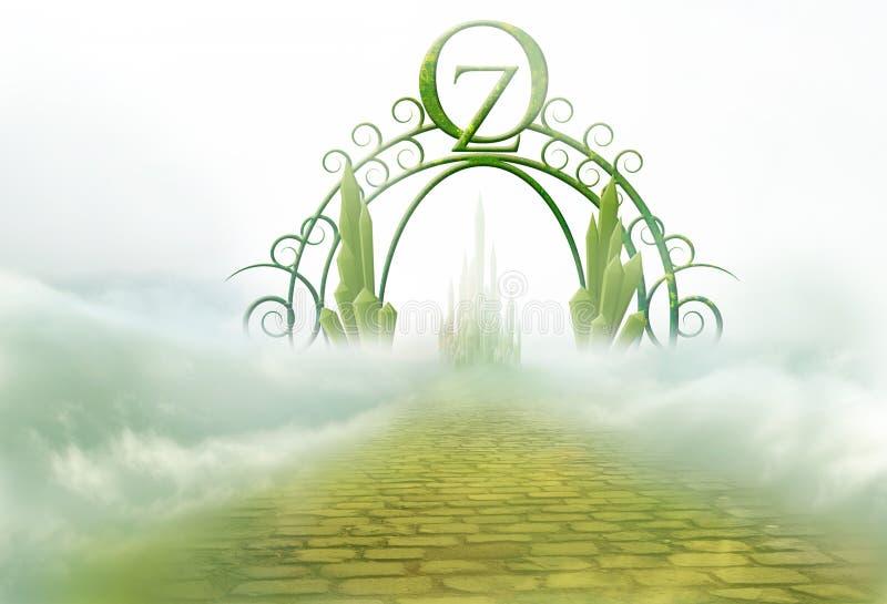 Oz brama z żółtą ceglaną drogą royalty ilustracja