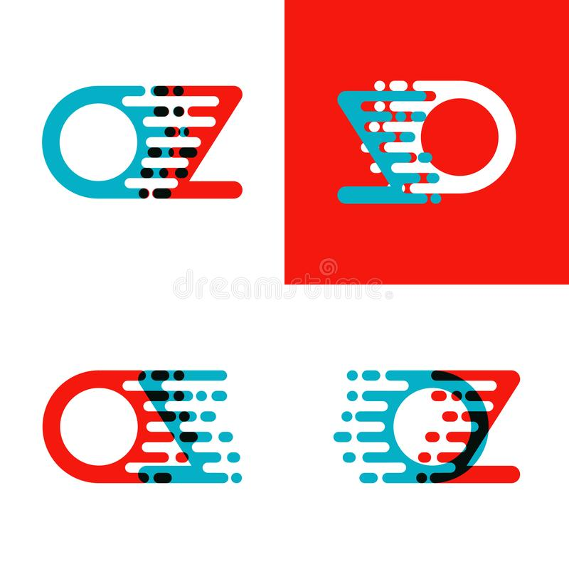OZ letters logo with accent speed in red and blue vector illustration