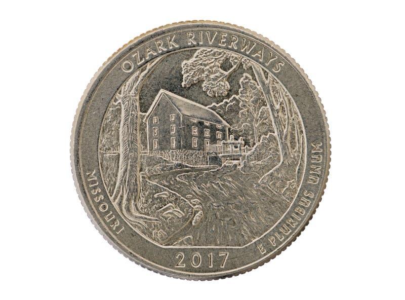 Ozark Riverways ćwiartki Pamiątkowa moneta zdjęcia royalty free