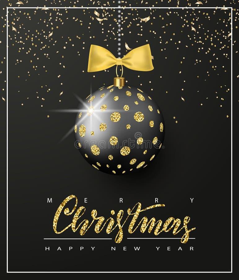 Ozdobna Bożenarodzeniowa piłka z błyskotliwością i złocisty łęk na czarnym tle karciany bożego narodzenia powitanie również zwróc ilustracja wektor