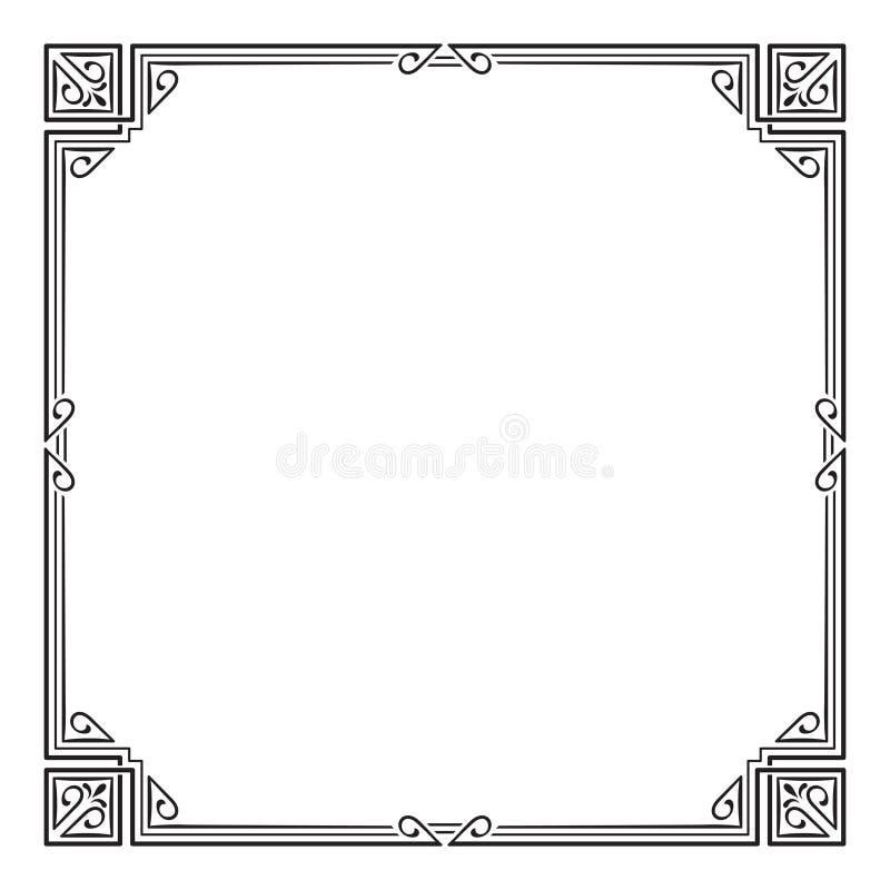 Ozdobna czarnego kwadrata rama, kąty ilustracji