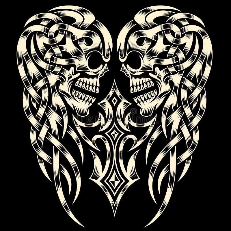 Ozdobna czaszka Z krzyżem ilustracja wektor