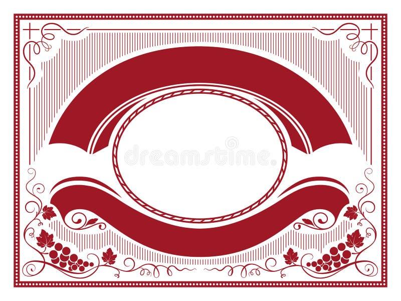 Ozdobna etykietka z wiązkami winogrono, sztandary, dekoracyjni kąty i ramy, royalty ilustracja