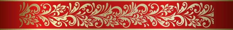 Ozdobna kwiecista dekoracyjna element ramy granica w Rosyjskim hohloma royalty ilustracja
