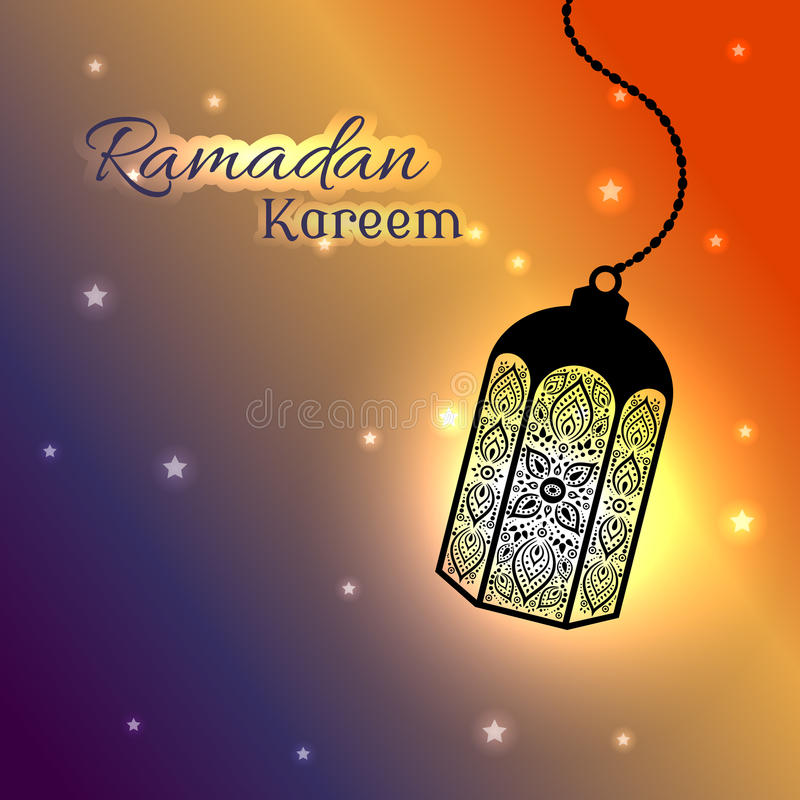 Ozdobna muzułmańska lampa dla Ramadan kartka z pozdrowieniami ilustracji