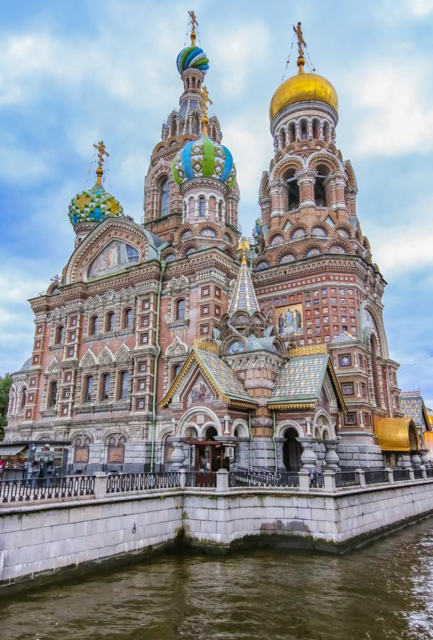 Ozdobna powierzchowność kościół wybawiciel na Rozlewałam krwi lub katedra rezurekcja Chrystus w Świątobliwym Petersburg, Rosja pr obraz royalty free