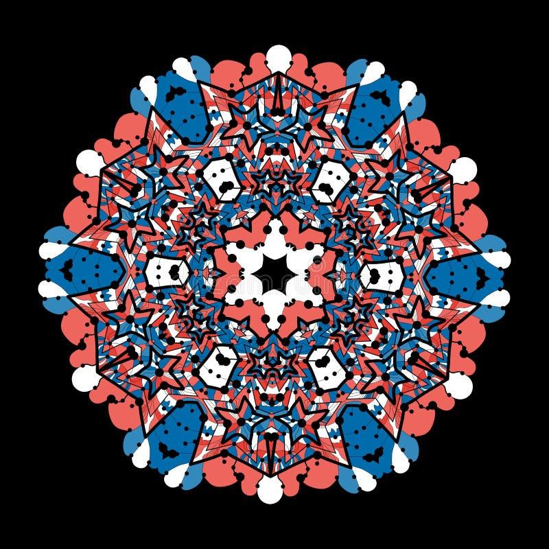 Ozdobna round mandala koronka na czarnym tle ilustracja wektor