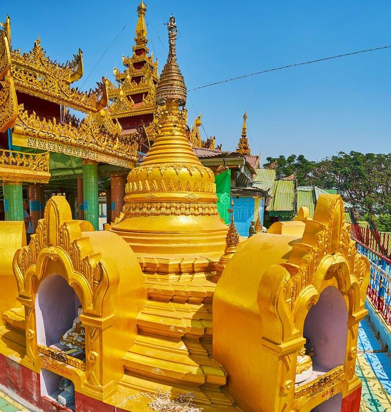 Ozdobna stupa Oo Ponya goleń Paya Wkrótce, Sagaing zdjęcie royalty free