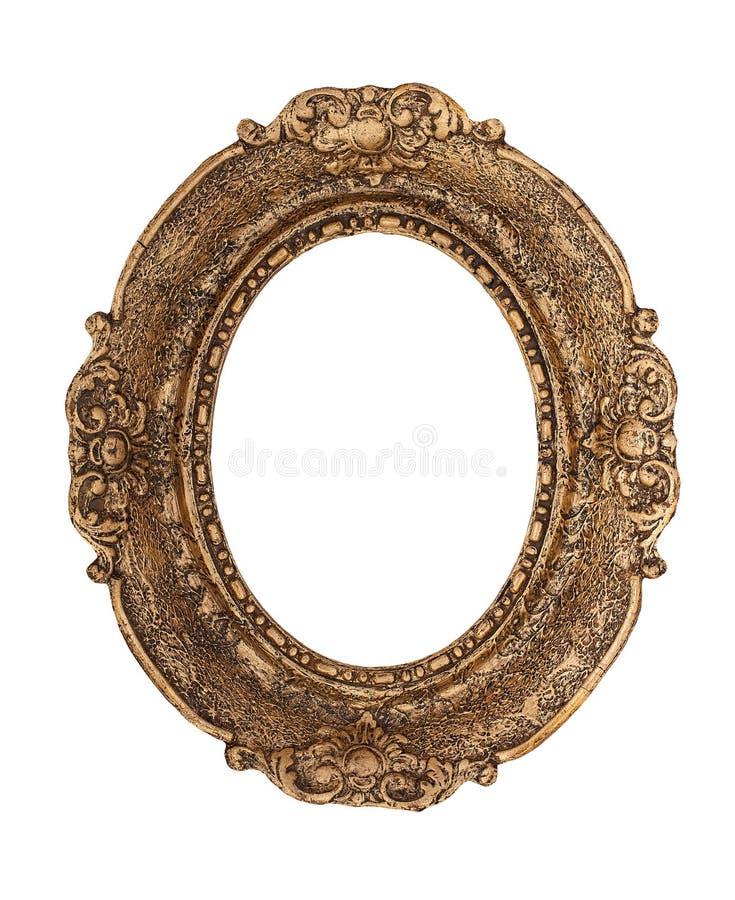 Ozdobna złota barok rama odizolowywająca na białym tle obraz royalty free