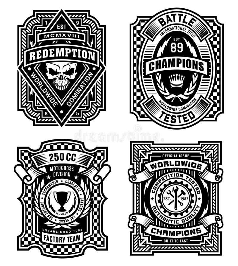Ozdobne czarny i biały emblemat koszulki grafika ilustracja wektor