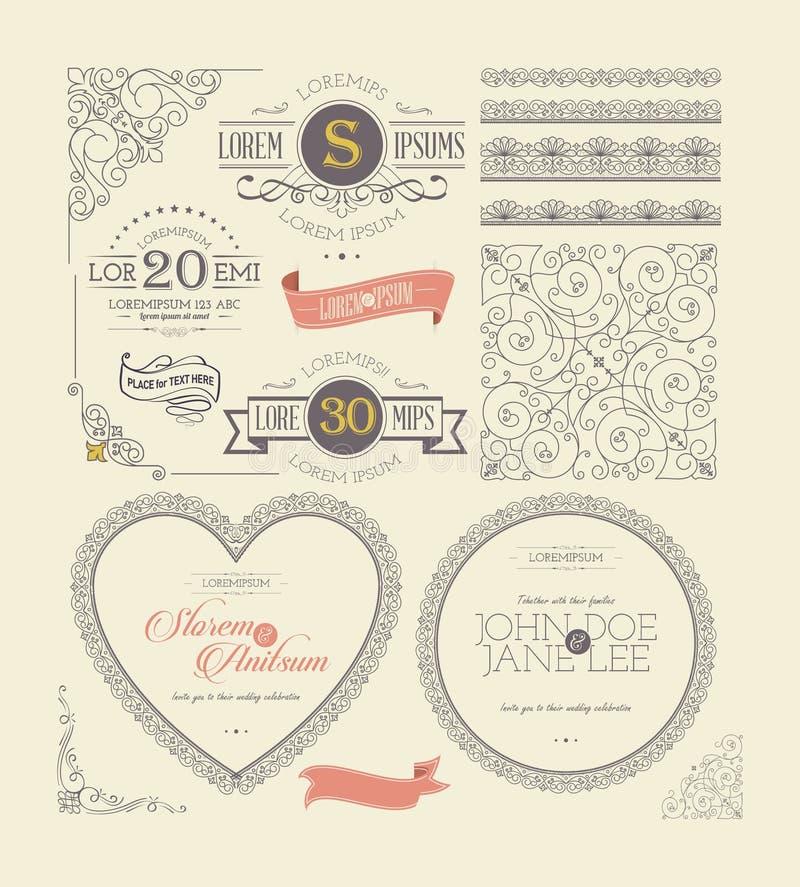 Ozdobne rama rocznika etykietki i koronkowi elementy royalty ilustracja