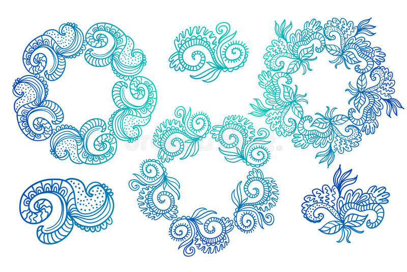 Ozdobne ramy i ślimacznica elementy royalty ilustracja