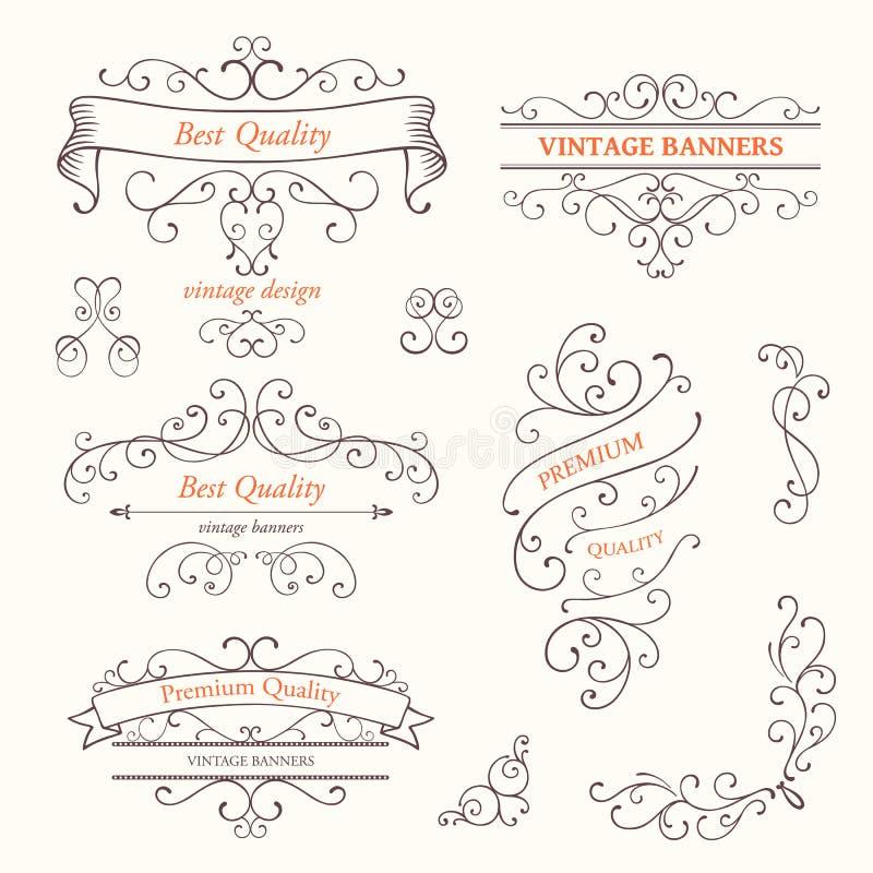 Ozdobne ramy i ślimacznica projekta elementy royalty ilustracja