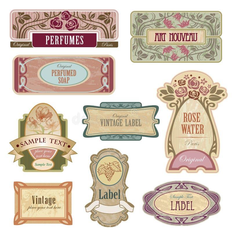Ozdobne rocznik etykietki w stylowej sztuce Nouveau ilustracja wektor