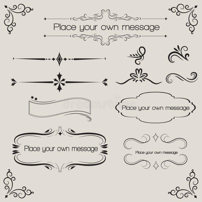 Ozdobne rocznik ramy i ślimacznica elementy royalty ilustracja