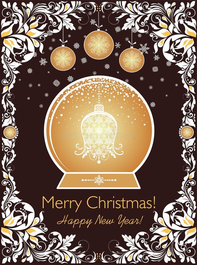 Ozdobnego rocznika słodka Bożenarodzeniowa kartka z pozdrowieniami z kwiecisty dekoracyjny papierowym ciie za granicie, xmas drze ilustracji