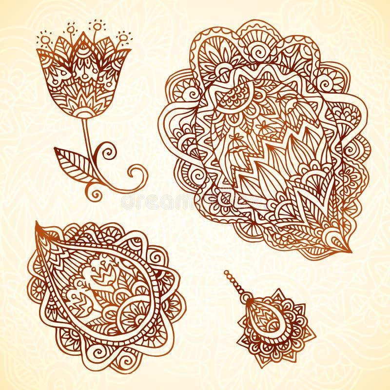 Ozdobnego rocznika wektorowi elementy w indianina stylu royalty ilustracja