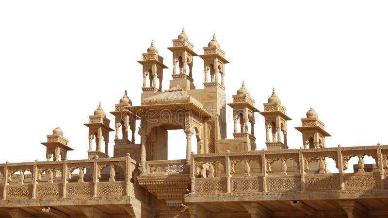 Ozdobny Architektoniczny szczegół Jaisalmer fort na Białym Backgroun obraz royalty free