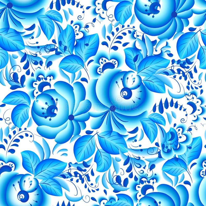 Ozdobny błękitny i biały kwiecisty bezszwowy wzór ilustracji