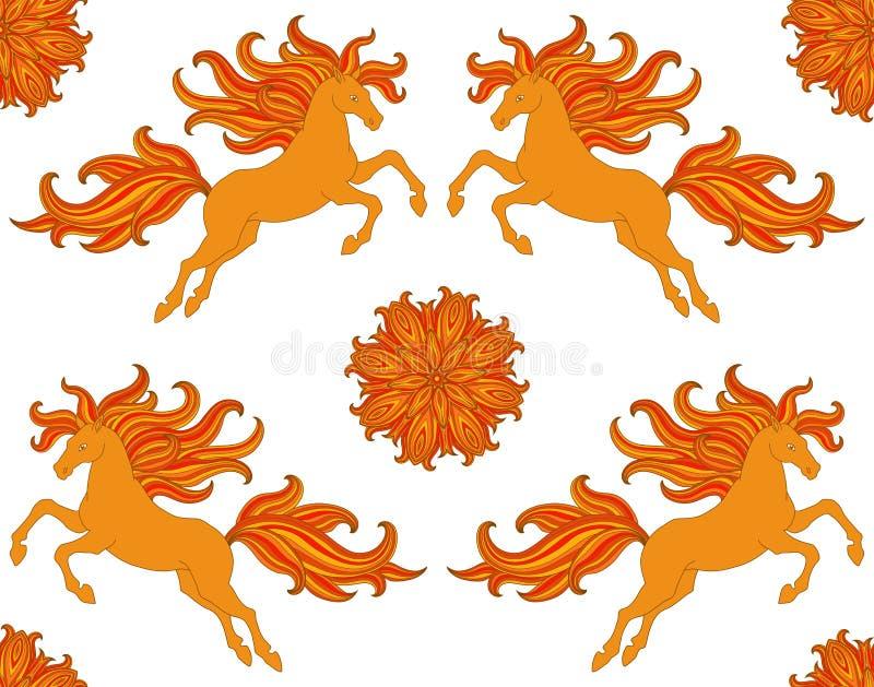 Ozdobny bezszwowy wzór z stylizowanymi koniami i kwiaty w boho projektujemy Wektorowy projekt dla tkaniny, sieć, drukuje royalty ilustracja