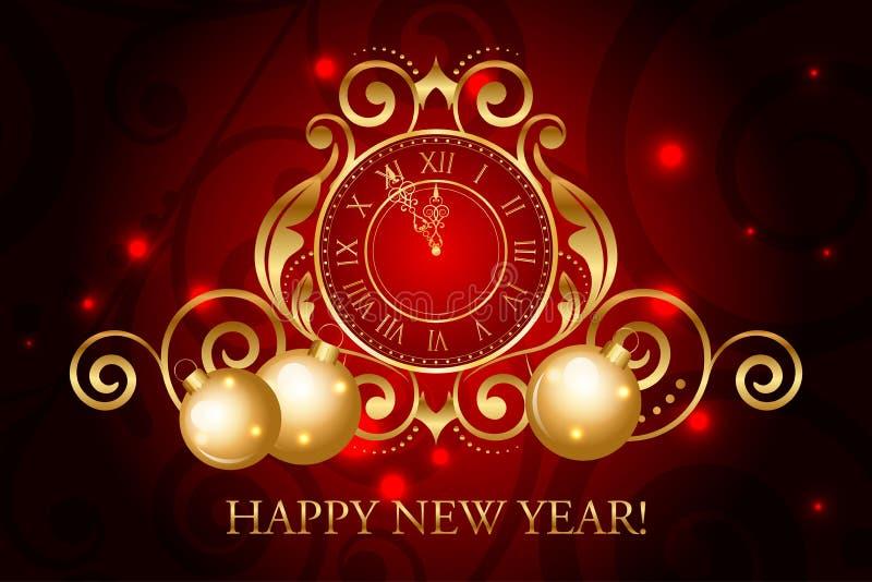 Ozdobny czerwieni i złota nowego roku tło royalty ilustracja