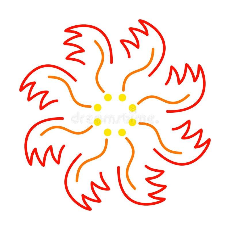 Ozdobny czerwono-żółty kwiat lub feniks płonący ilustracja wektor