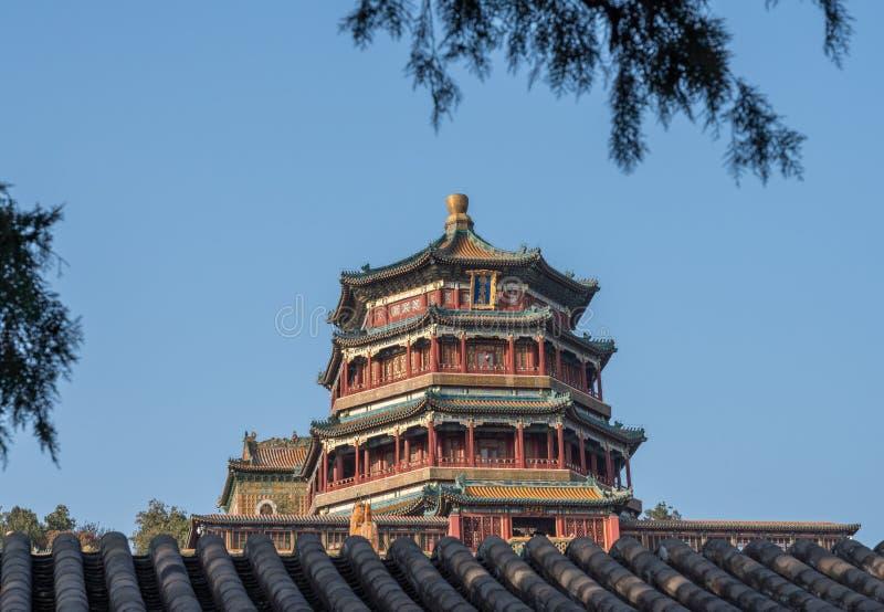 Ozdobny dach przy lato pałac na zewnątrz Pekin, Chiny zdjęcie stock
