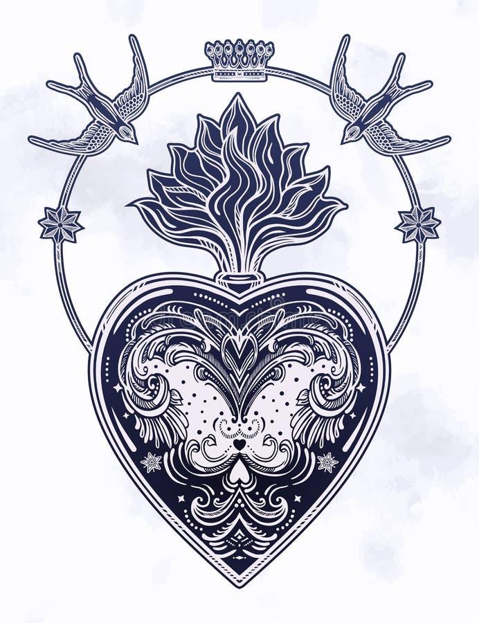 Ozdobny dekoracyjny serce z płomieniem ilustracji