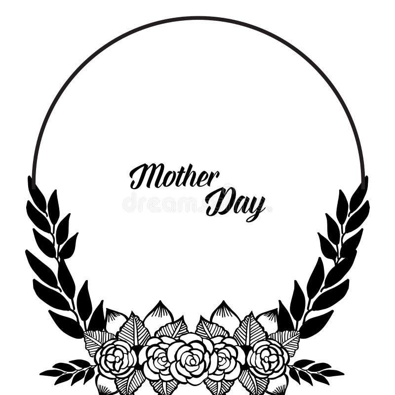 Ozdobny karciany macierzysty dzień z tapetą śliczna kwiat rama, wektor ilustracja wektor