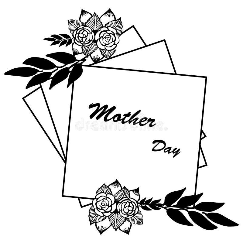 Ozdobny karciany macierzysty dzień z tapetą śliczna kwiat rama, wektor royalty ilustracja