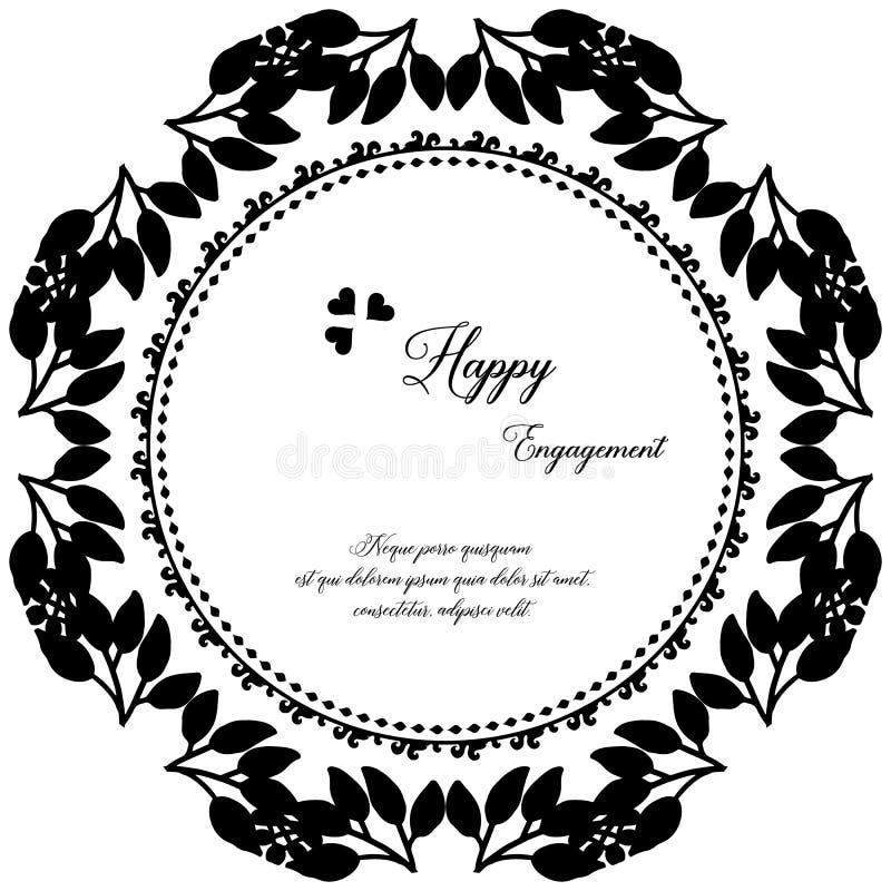 Ozdobny kartka z pozdrowieniami, zaproszenia szczęśliwy zobowiązanie karta, deseniowej sztuki kwiecista rama wektor ilustracji