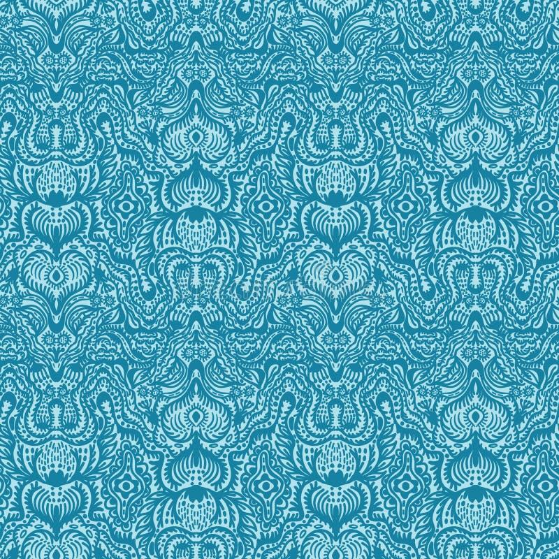 Ozdobny kwiecisty adamaszkowy bezszwowy wzór Po całym druk symetrii wektoru tło Lata boho mody kobiecy styl eleganckie ilustracji