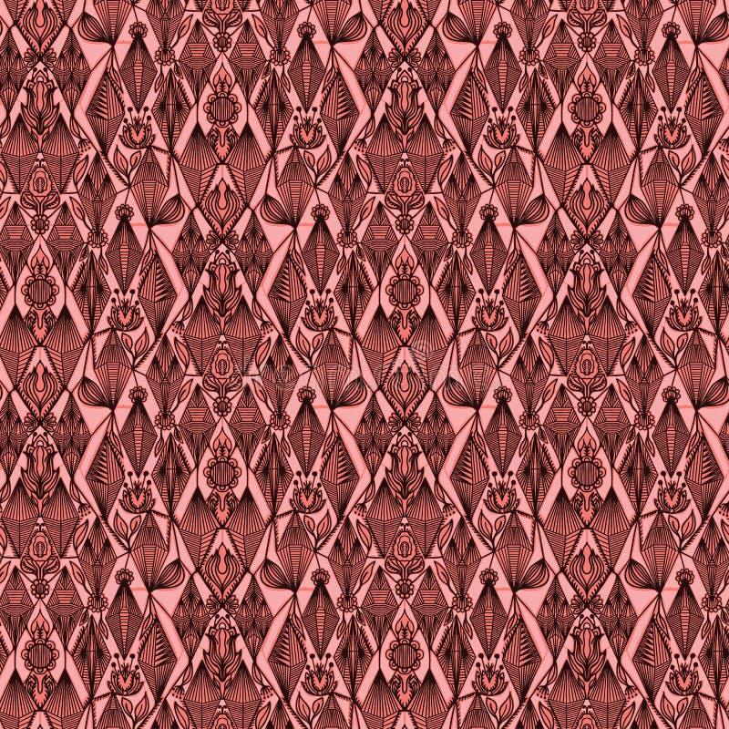 Ozdobny kwiecisty adamaszkowy bezszwowy wzór Po całym druk symetrii wektoru tło Starego wiktoriański mody tapetowy styl modny ilustracji
