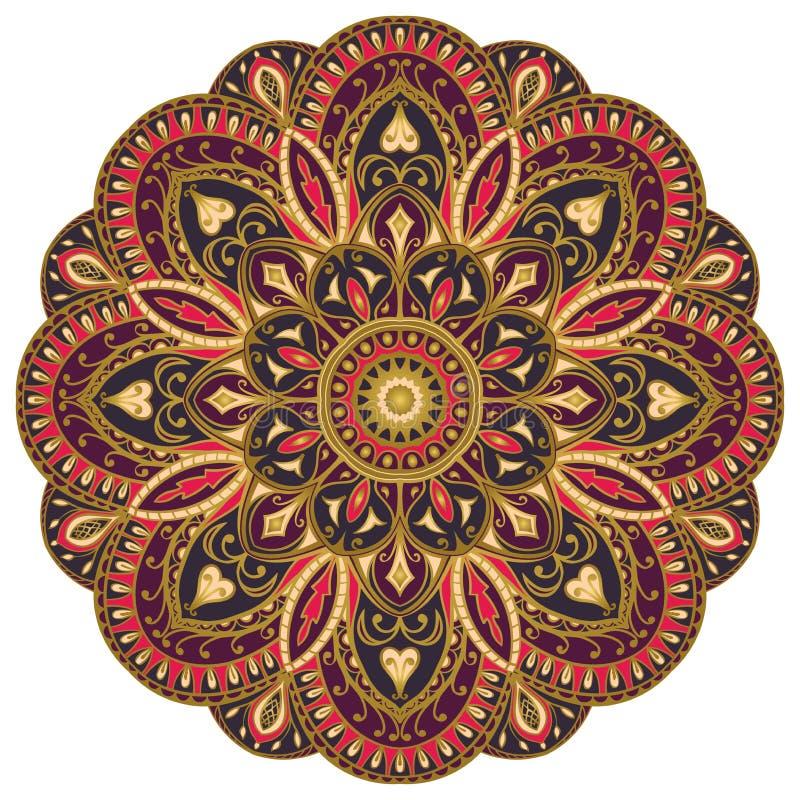 Ozdobny, purpurowy, wschodni mandala, ilustracja wektor