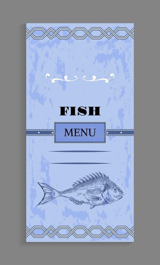 Ozdobny Rybi menu pojęcie dla owoce morza restauracji ilustracja wektor