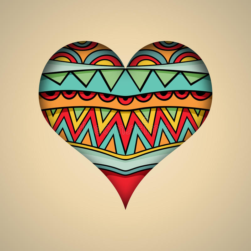 Ozdobny serce karty szablon royalty ilustracja