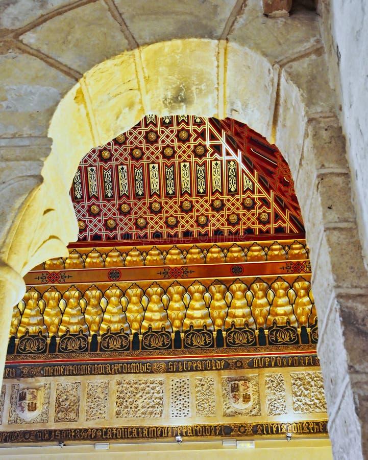 Ozdobny sufit, Historyczny Alcà ¡ zar de Segovia, Castile i Leon, Hiszpania obraz royalty free