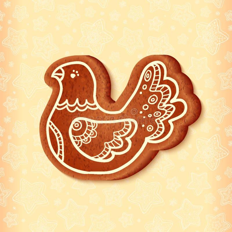 Ozdobny wektorowy tradycyjny bożych narodzeń cukierki ptak royalty ilustracja