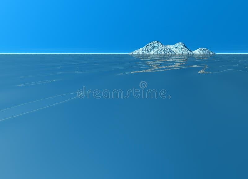 Ozean-Insel-Landschaft-Land-Berg im Abstand vektor abbildung