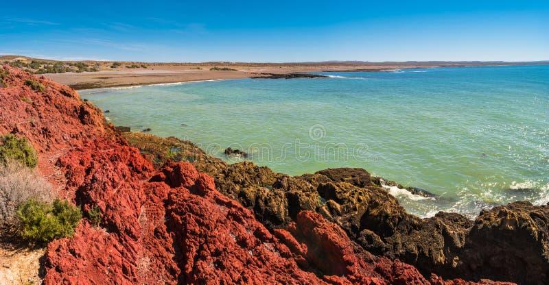 Ozean kostete Landschaft von Punta Tombo, Patagonia, Argentinien stockbild