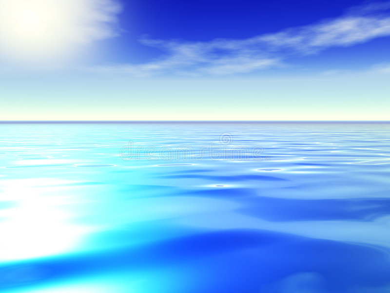 Ozean und blauer Himmel. stock abbildung