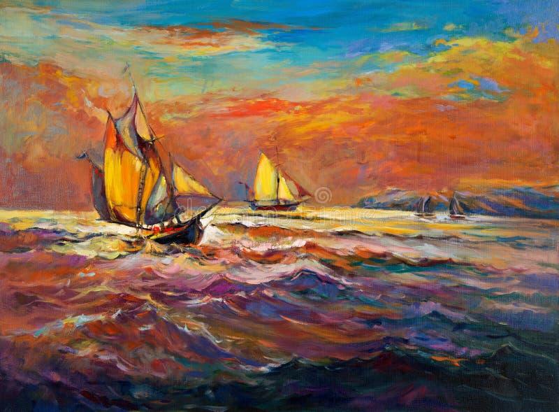 Ozean und Schiff stock abbildung