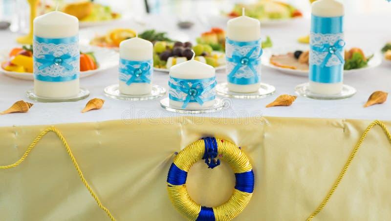 Ozeanart der Hochzeitsdekorationen tropische See lizenzfreies stockfoto