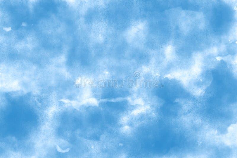 Ozeanblau-Thema-Wasserfarbpapierbeschaffenheitshintergrund stockbild