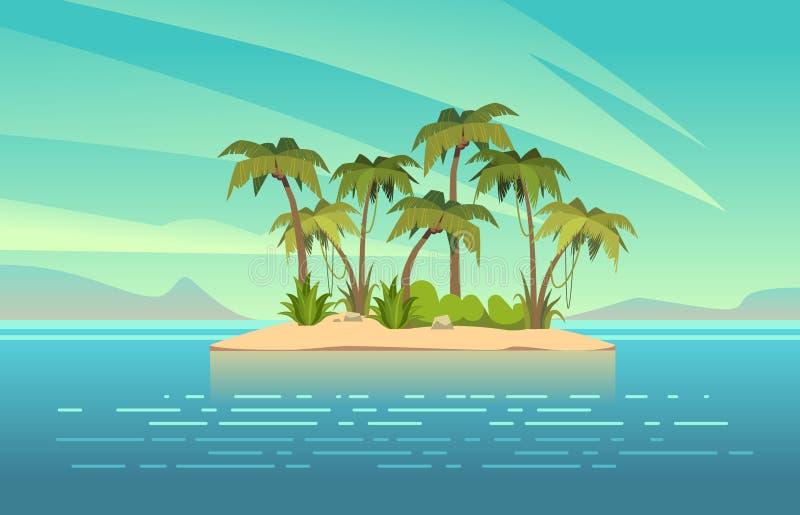 Ozeaninselkarikatur Tropeninsel mit Palme-Sommerlandschaft Sandstrand und -sonne im blauen Himmel Reiseferien stock abbildung