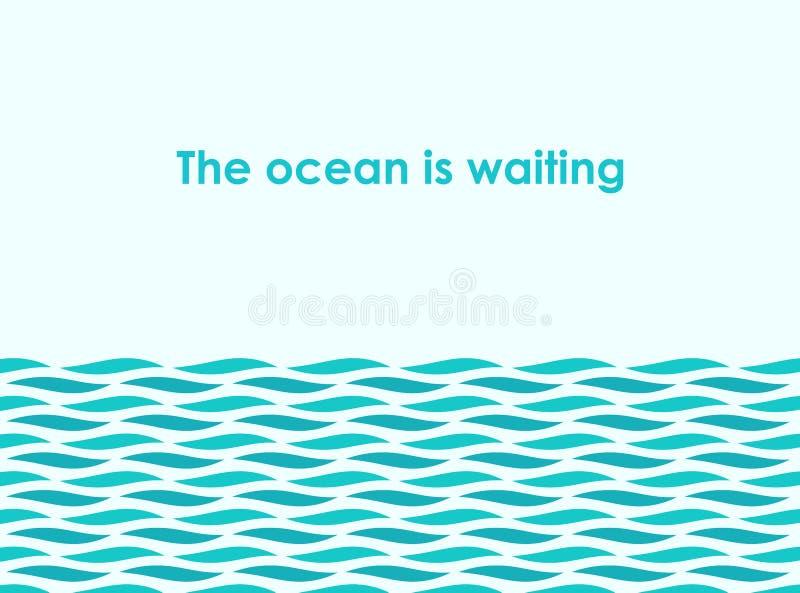 Ozeanmeereswellenillustration lizenzfreie abbildung