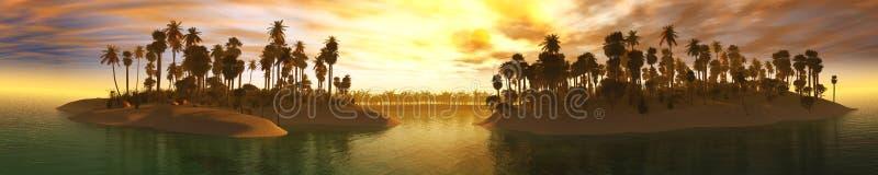 Ozeansonnenuntergang, Insel im Meer, Panoramablick des Sonnenuntergangs im Meer, Palmen auf der Insel lizenzfreie abbildung