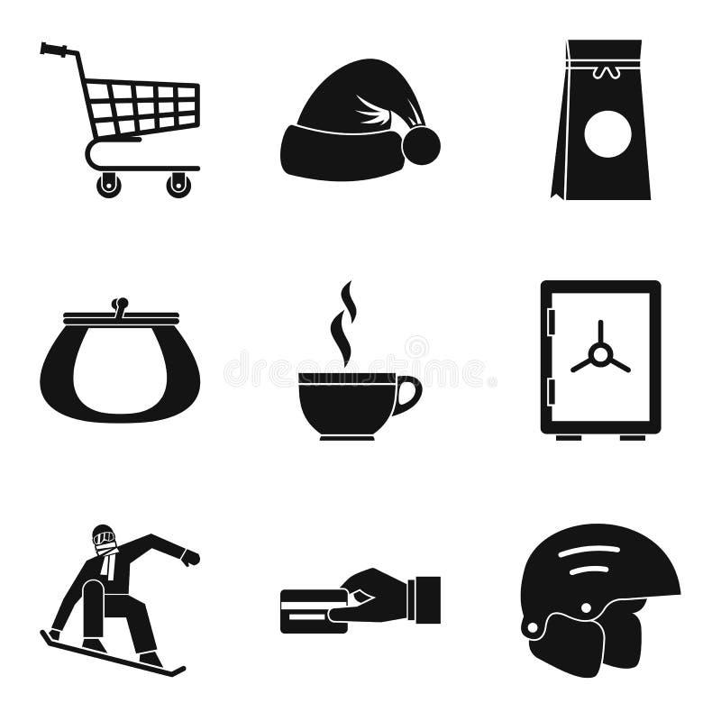 Oziębłe ikony ustawiać, prosty styl royalty ilustracja