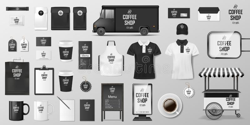 Oznakujący korporacyjną tożsamość ustawiającą dla sklepu z kawą, kawiarni lub restauracji, Kawowy mockup projekt Realistyczny set ilustracja wektor
