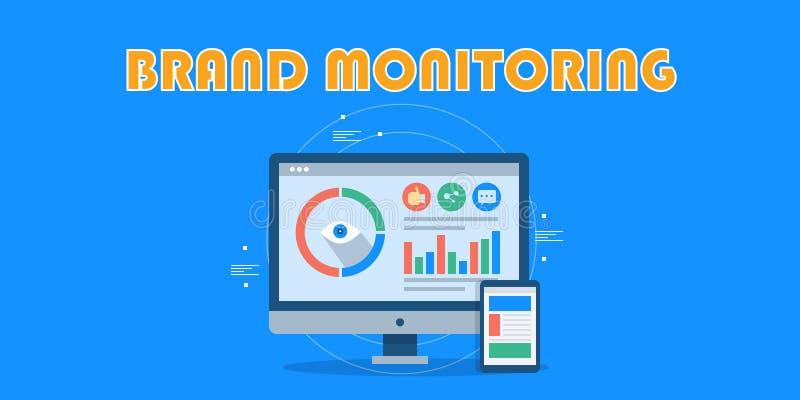 Oznakuje monitorowanie, dane analityka pokazuje na ekranie komputerowym, marketing, gatunku tropić Płaski projekta wektoru sztand royalty ilustracja